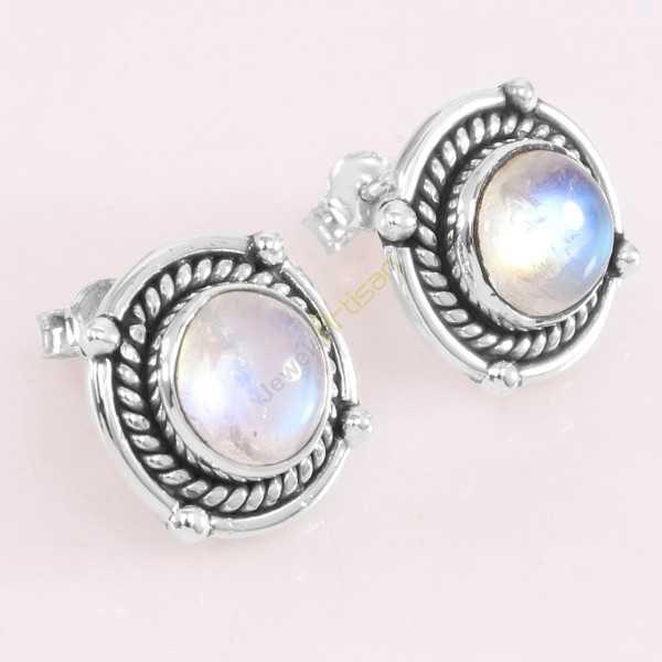 Rainbow Moonstone Stud Earrings 925 Sterling Silver Stud Earring Stud Jewelry