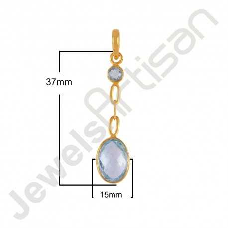 Blue Topaz BT and 18K Gold Plated Silver Dangle Pendant Locket