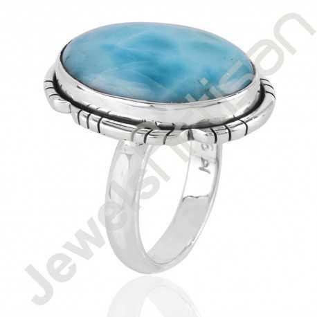 Larimar Ring 925 sterling Silver Blue GemstoneDesigner Ring