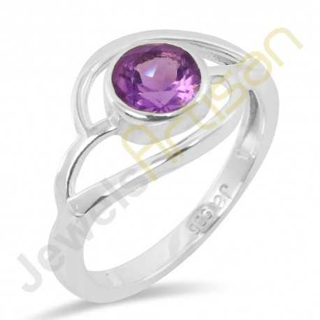 Natural Amethyst Sterling Silver Solitaire Ring