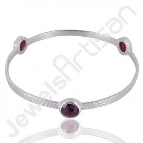 Garnet Gemstone Bangle Bracelet 925 Sterling Silver Bangle Bracelet
