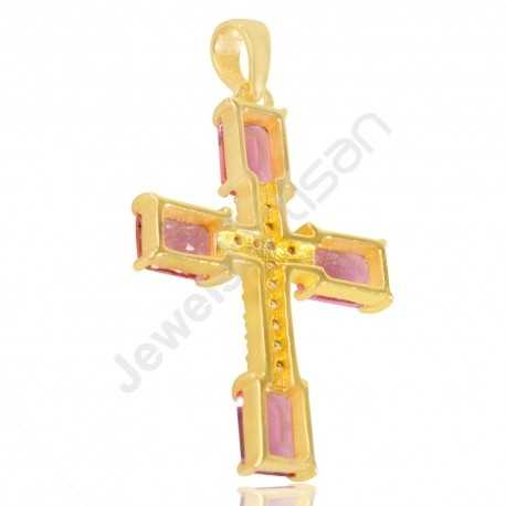 Pink Stone And White Cubic Zirconia Gemstone Pendant Gold Plated Designer Cross Pendant