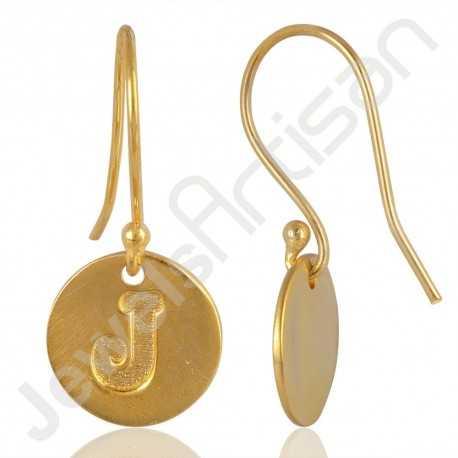 "Alphabet ""J"" Charm Fashionable Earring Gold Plated Handmade Brass Earrings"