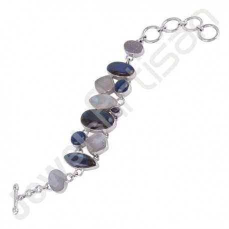 Labradorite, Kyanite, Rainbow Moonstone and White Druzy Gemstone Bracelet 925 Sterling Silver Handmade Bracelet