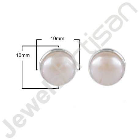 White Pearl Gemstone Studs 925 Sterling Silver Studs