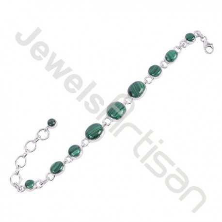 Malachite Gemstone Bracelet 925 Handmade Sterling Silver Bracelet