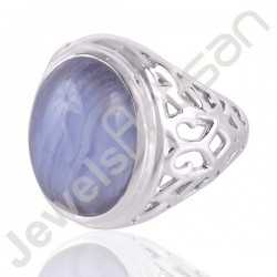 Blue Lace Agate Gemstone Ring and 925 Sterling Silver Designer Ring for Men