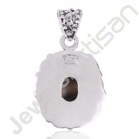 Abalone Shell Gemstone Pendant 925 Sterling Silver Cluster Pendant