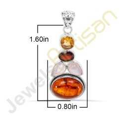 Amber, Citrine, Garnet, Rainbow Moonstone Gemstone Pendant 925 Sterling Silver Pendant