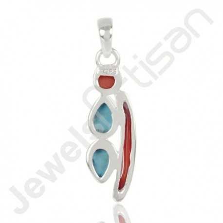 Natural Arizona Turquoise Coral Gemstone Pendant And Coral Stick Gemstone Pendant 925 Sterling Silver Pendant