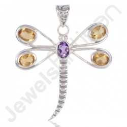 Citrine And Amethyst Gemstone Pendant 925 Sterling Silver Butterfly Design Pendant