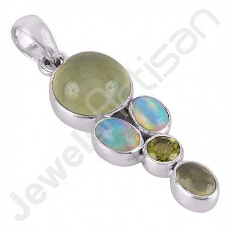 Ethiopian Opal, Prehnite and Peridot Gemstone Pendant Handmade 925 Sterling Silver Pendant