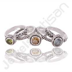 Citrine, Peridot and Blue Topaz Gemstone Stackable 925 Sterling Silver Ring