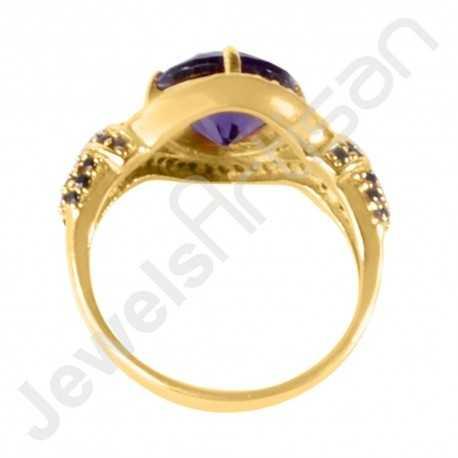 Purple Swarovski Quartz, Black Spinal Quartz and White Cubic Zirconia Gold Plated Handcrafted Fashion Ring