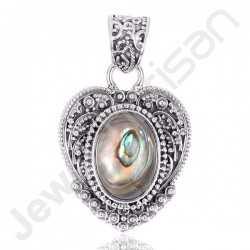 Abalone Shell Oval Shape Gemstone Pendant 925 Sterling Silver Locket Pendant