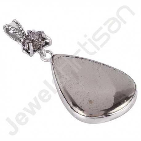 Pyrite Sun Pendant Meteorite Rare Stone Pendant 925 Silver Pendant