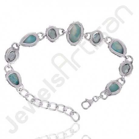 Blue Topaz Bracelet Larimar Bracelet 925 Sterling Silver Cluster Gemstone  Bracelet