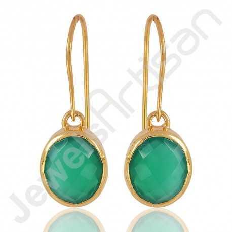 Green Onyx Earring 925 Sterling Silver Earring Gold Plated Dangle Drop Earring