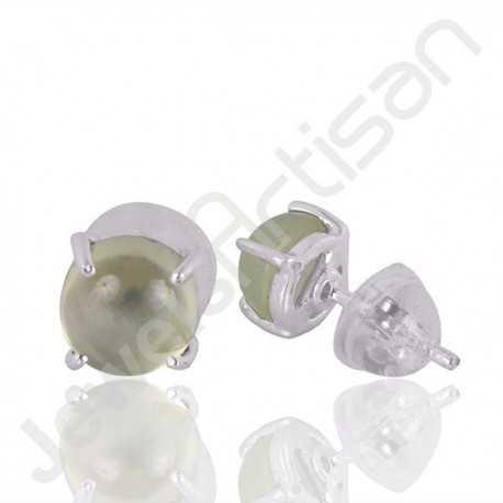 Prehnite Studs Earring 925 Sterling Silver Studs Earring