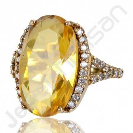 Yellow Quartz Ring White Cubic Zirconia Designer Ring Gold Plated Brass Ring