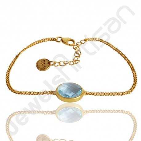 Blue Topaz Bracelet 925 Solid Silver Bracelet Gold Vermeil Cluster Bracelet