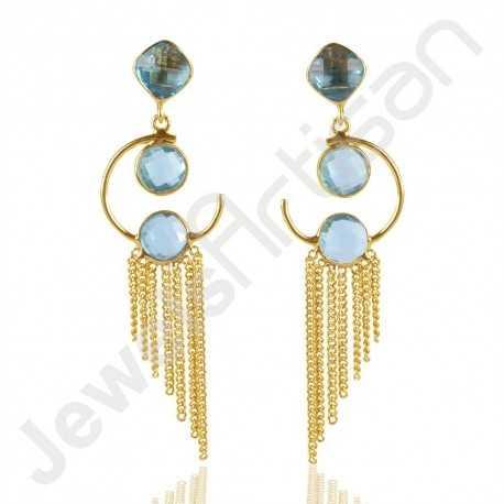 Blue Topaz Earring 925 Solid Silver Earring Gold Plated Dangle Drop Earring
