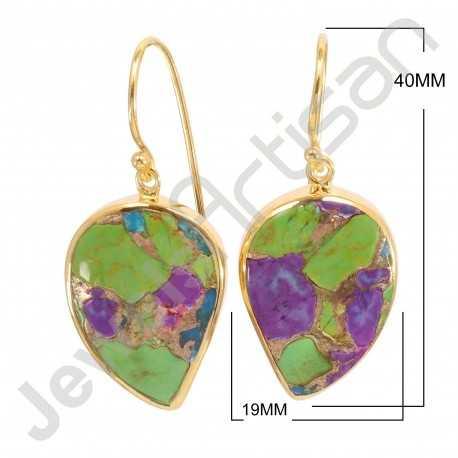Turquoise Earring 925 Sterling Silver Earring Dangle Drop Gold Plated Earrings