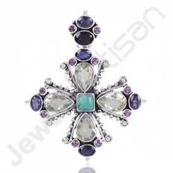 Amethyst Pendant, Turquoise Pendant and Iolite Pendant 925 Sterling Silver Pendant Handcrafted Designer Silver Pendant