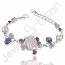 Biwa Pearl Bracelet, Rainbow Moonstone Bracelet, Pearl Bracelet, Kyanite Bracelet, Iolite Bracelet, 925 Sterling Silver Bracelet