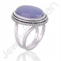 Blue Lace Agate Ring 925 Sterling Silver Ring Handmade Designer Gemstone Ring
