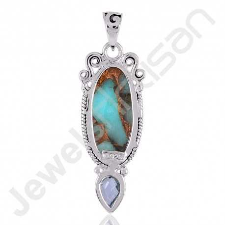 Amazonite Turquoise Pendant, Sky Blue Topaz Pendant, 925 Sterling Silver Pendant, Handcrafted Silver Pendant.