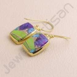 Turquoise Earring 925 Solid Silver Earring Gold Plated Silver Earring Dangle Drop Earring