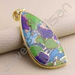 Turquoise Pendant 925 Solid Silver Pendant Gold Plated Statement Pendant Handcrafted Silver Pendant