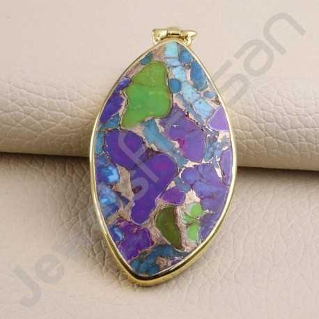 Turquoise Pendant 925 Solid Silver Pendant Gold Vermeil Statement Pendant Handcrafted Fashionable Pendant