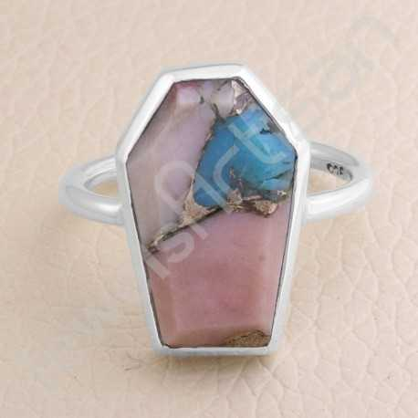 Turquoise Ring 925 Sterling Silver Ring Coffin Designed Handcrafted Silver Ring turquoise Gemstone Ring Statement Silver Ring
