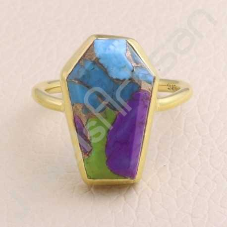 Turquoise Ring 925 Solid Silver Ring Coffin Designed Ring Gold Vermeil Silver Ring Turquoise Gemstone Ring Statement Silver Ring