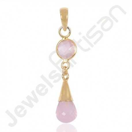 Rose Quartz Pendant 925 Solid Silver Pendant Gold Vermeil Pendant Gemstone Pendant Necklace Drop Pendant