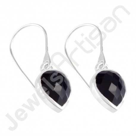 Black Stone Earring 925 Sterling Silver Earring Dangle Drop Earring Fashionable Earring Handcrafted Earring