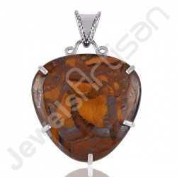 Tiger Eye Pendant 925 Sterling Silver Pendant Silver Statement Pendant Tiger Eye Gemstone Pendant for Necklace