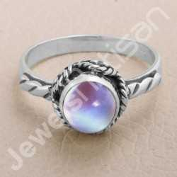 Rainbow Moonstone Ring 925 Sterling Silver Ring Classic Solitaire Ring Rope Design Ring Handcrafted Silver Ring