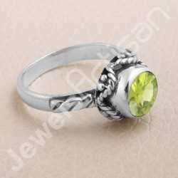 Peridot Ring 925 Sterling Silver Ring Solitaire Silver Ring Handcrafted Silver Ring Designer Silver Ring