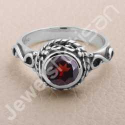 Garnet Ring 925 Sterling Silver Ring Garnet Solitaire Silver Ring Handcrafted Silver Ring January Birthstone Ring
