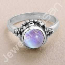 Rainbow Moonstone Ring 925 Sterling Silver Ring Rainbow Moonstone Solitaire Ring Traditional Indian Design Ring Handcrafted Ring