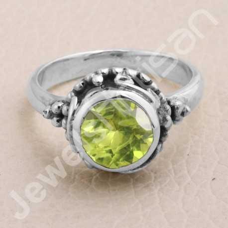 Peridot Ring 925 Sterling Silver Ring Peridot Solitaire Silver Ring Handcrafted Silver Ring Traditional Designer Silver Ring