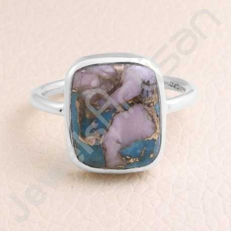 Sterling Silver Ring 12x14mm Turquoise Ring Silver Statement Ring Handmade Ring Natural Gemstone Ring