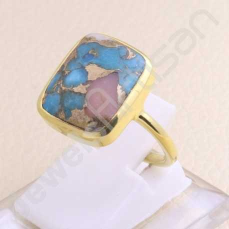 Gold Vermeil 925 Sterling Silver Ring 12x14mm Cushion Turquoise Ring Handmade Silver Statement Ring