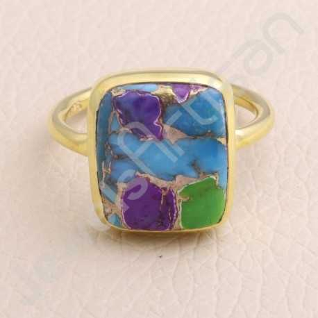Gold Vermeil Ring Turquoise 12x14mm Ring 925 Solid Silver Ring Statement Silver Ring Natural Turquoise Gemstone Ring