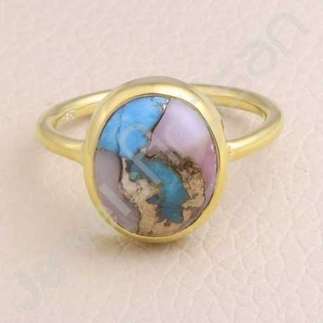 925 Solid Silver Ring Gold Vermeil Ring Silver Statement Ring Turquoise 11x13mm Gemstone Ring 1 Micron Gold Plated Ring