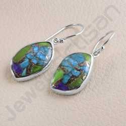 925 Sterling Silver Earring Turquoise Earring Dangle Drop Earring Handmade Earring Fancy Shape Turquoise Gemstone Earring