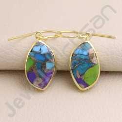 Fancy Shape Turquoise Earring 925 Solid Silver Gold Plated Earring Dangle Drop Earring Handcrafted Gold Vermeil Silver Earrings